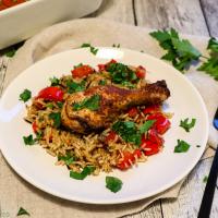 Ofenreis mit Paprika-Hühnchen