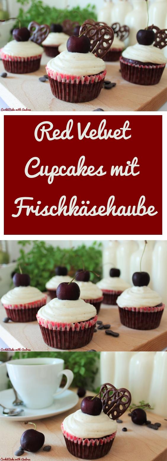 Red Velvet Cupcakes mit Frischkäsehaube - www.candbwithandrea.com - Rezept -Collage