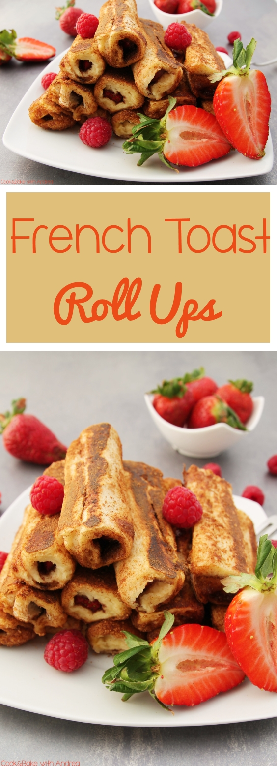 French Toast Roll Ups mit Erdbeeren und Himbeeren - www.candbwithandrea.com - Rezept 1 - Collage