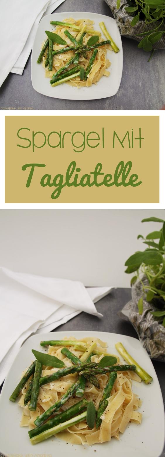 Tagliatelle mit Spargel, Salbei und Sojasahne - www.candbwithandrea.com - Rezept vegan - Collage