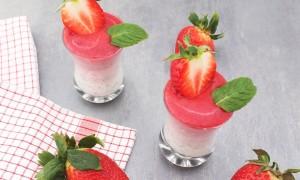 Ombré Chiapudding mit Erdbeeren