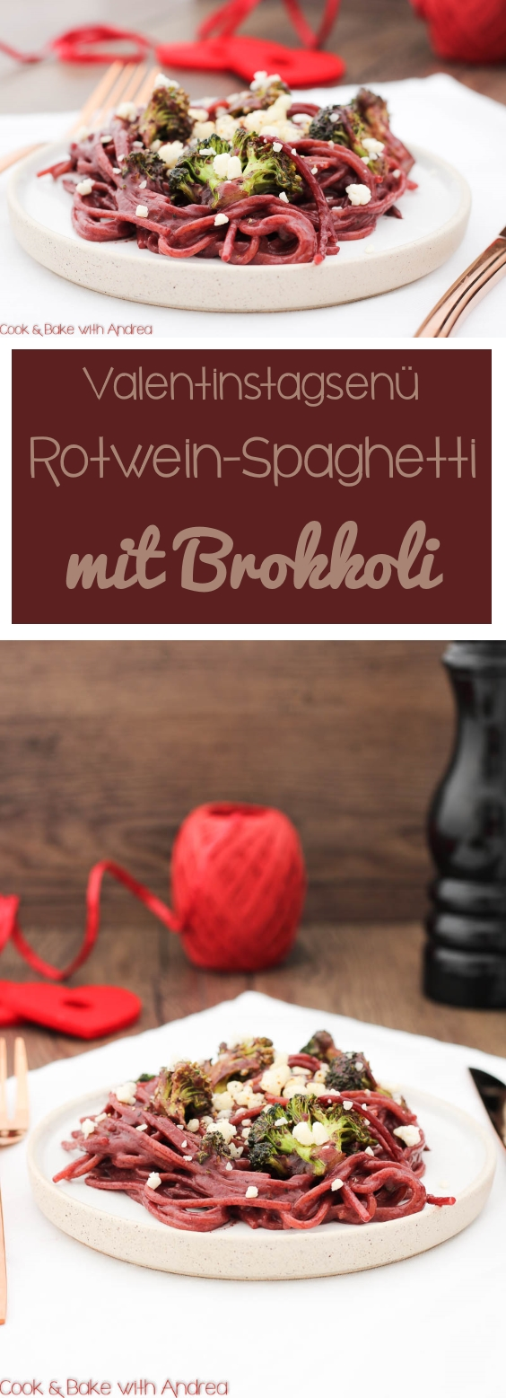 C&B with Andrea - Rotwein-Spaghetti mit Brokkoli Rezept - www.candbwithandrea.com - Collage