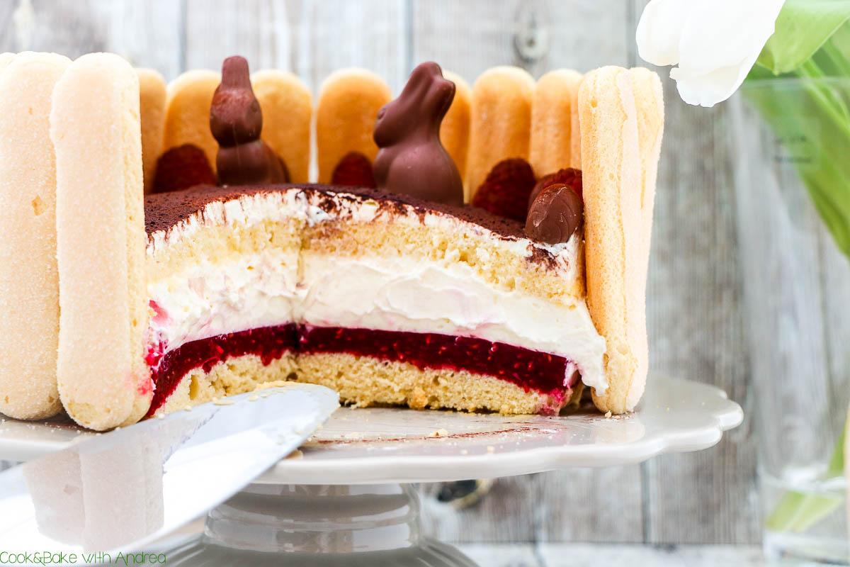 Wenn ihr noch Ideen für die Ostertafel braucht dann kommt hier die Rettung: meine saftige und fruchtige Himbeer-Sahne-Torte mit kleinen Schokohasen und -eiern. Das Rezept für diesen Osterkuchen findet ihr auf dem Foodblog von Cook and Bake with Andrea.
