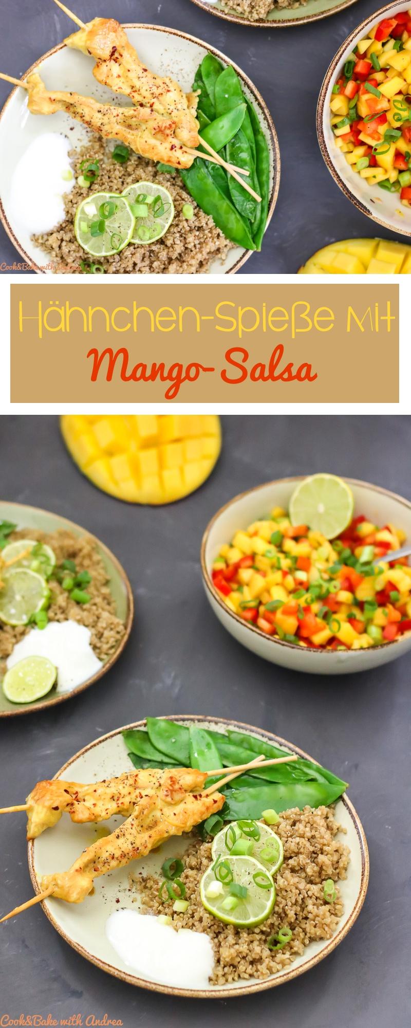 MiMit meinen Hähnchen-Spießen mit Mango Salsa geht es nach Indonesien und einen kleinen Abstecher in die Anden machen wir auch. Diese Hähnchen-Saté werden begleitet von etwas Quinoa, Zuckererbsen und einer selbstgemachten Salsa aus Paprika und Mango. Das Rezept gibt es bei Cook and Bake with Andrea.
