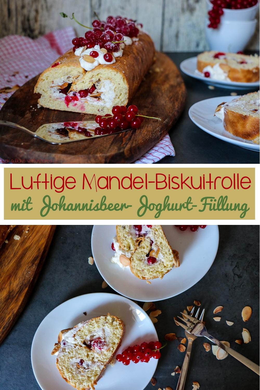 Der Sommer ist endlich da, da braucht es einen passenden Kuchen: meine Mandel-Biskuitrolle mit Johannisbeer-Joghurt-Füllung ist da genau richtig! Die Füllung ist so unfassbar erfrischend und lecker und der Teig wunderbar fluffig. Das Rezept gibt es auf dem Blog von Cook and Bake with Andrea.